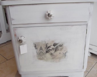 Old bedside table chest of drawers in the Shabby Chic