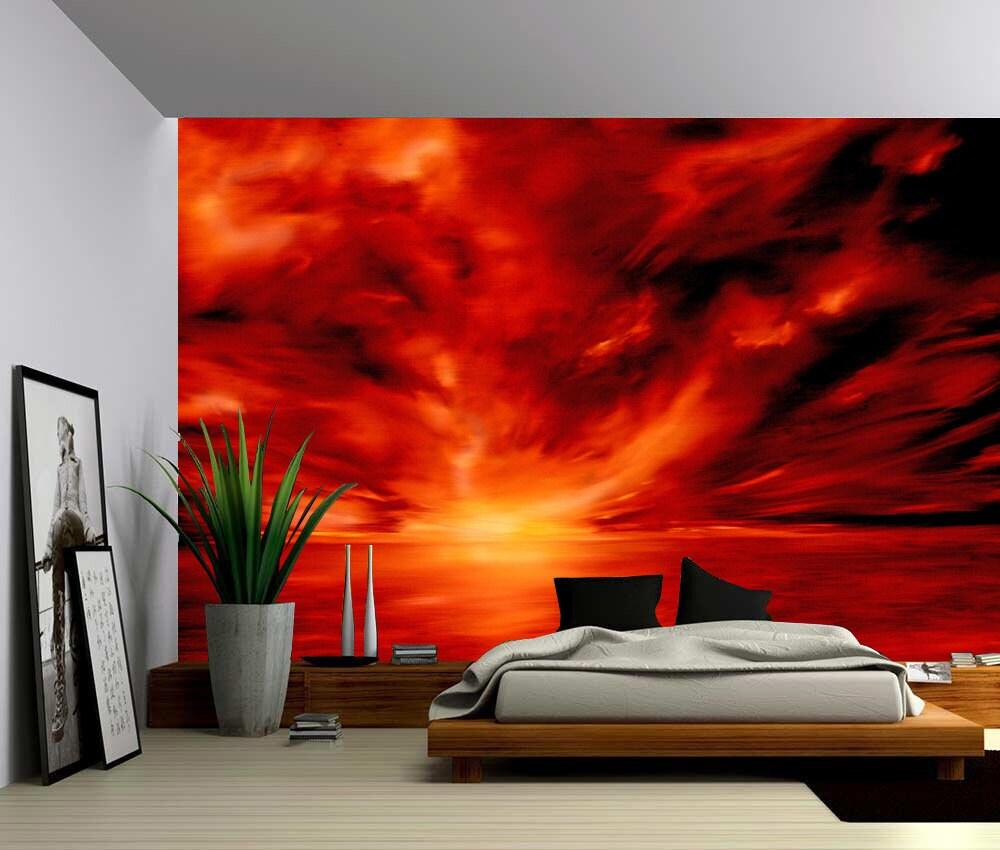 Warmth Red Abstract Large Wall Mural Self-adhesive Vinyl