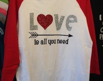 Love is all you need red raglan tee shirt