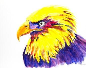 Golden Eagle is a colourful contemporary print of an eagle in watercolour by dylshouse.