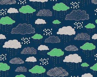 Riley Blake Greatest Adventure Clouds Navy (Half metre)