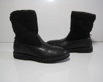ROCKPORT Mid-Calf Boots Size: 6.5 M Leather Upper Man Made Trim Shoes Black VINTAGE