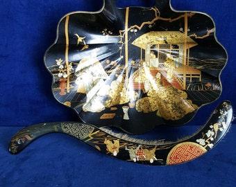 Victorian Chinoiserie paper mache crumb tray and brush