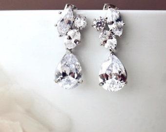 Wedding Jewelry Crystal Bridal Earrings Teardrop Cluster CZ Earrings Bridal Jewelry Bridesmaid Gift Formal Prom Earrings