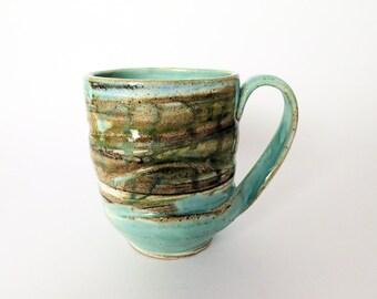 Blue ceramic mug, Large ceramic coffee mug, Handmade pottery cup, Large pottery mug