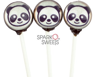 Cute Panda Emoji Collection Gourmet 3D Lollipops by Sparko Sweets Handmade Hard Candy ( 6 Pieces Set)