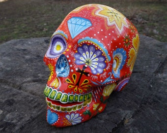 Unique Handmade Handpainted Red Detailed Diamond Flowers Points Circle Abstract Cross Ceramic Mexican Sugar Skull with Tunnels MADE TO ORDER