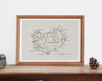 MINIMALIST ICELAND MAP - Professional Reproduction - Antique Map, Antique Map of Iceland