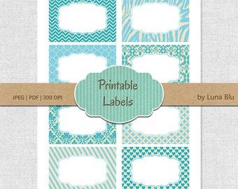 Printable Labels: Vintage Blue digital labels, printable frames, gift cards, buffet labels, storage labels, party labels, table numbers