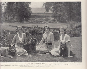 """Three Sister Sitting In Garden With Their Pets/1937 Dog Print/ 8"""" X 10"""""""