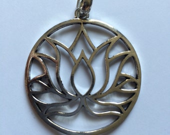Lotus Flower, Pendant, Brass, Sacred Geometry, Silverlook