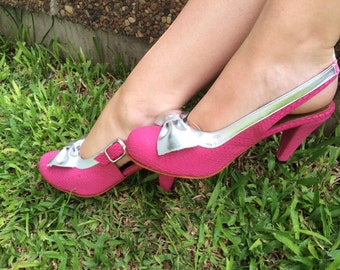 High heel leather handmade shoes / women shoes in pink and silver leather / Model Jane