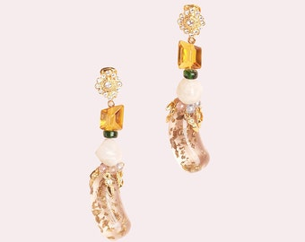 Unique long lucite glass stone bead gold crystal clip on earrings