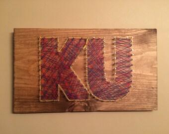 Kansas string art etsy ku wood nail art prinsesfo Image collections