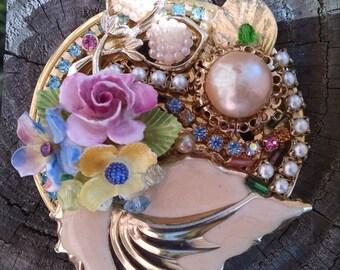 Magnificent Assemblage Goldtone Brooch...Vintage...Statement Piece