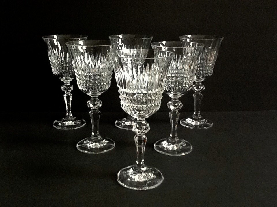 Cut Crystal Wine Glasses Set Of 6 Multi Faceted Stems