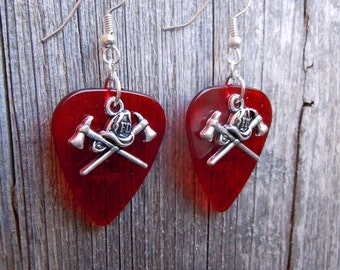 Fire Dept Helmet and Axes Charm Guitar Pick Earrings - Pick Your Color