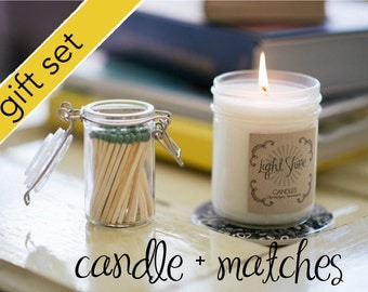 Candle + Matches Gift Set - GMO Free Soy Candle - Pick Your Fragrance