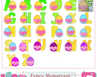 Easter letters applique,Easter Monogram applique,Fonts design,Easter egg,Alphabet,Easter applique,Birthday letters.