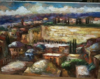 Oil on Canvas Original Signed Painting by Slava Brodinsky Western Wall View