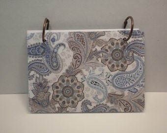 "Index Binder ( 4 x 6)-Notebook, Journal, Notes, Stationery ""Blue Paisley""-HIB-5"
