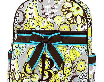"Personalized Quilted Paisley Print Backpack with Bow - Large 15"" Multicolor with Brown & Turquoise Accents - QBF2746-BR"