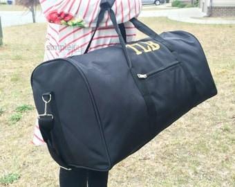 Black DUFFLE Bag, Monogrammed Overnight bag, black luggage, Boy duffle Bag, Men Duffle Bag, Women Duffle Bag, Gym bag, Sports Duffle Bag