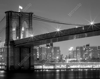 Black and White, New York City Photography, Brooklyn Bridge at night, Fine Art Photography, NYC Pictures, Brooklyn
