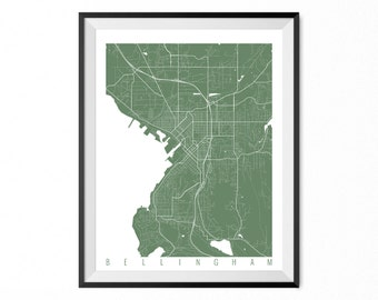 Bellingham Map Art Print / Bellingham City Poster / Bellingham Wall Art / Washington/ Gift / Washington home decor