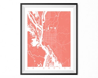 LA CROSSE Map Art Print / La Crosse City Poster / La Crosse Wall Art / Wisconsin/ Gift / Wisconsin home decor