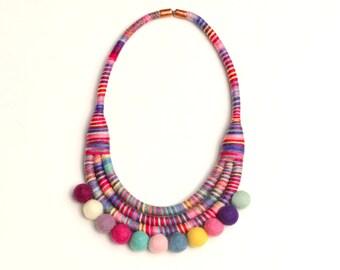 Pom Pom Necklace, Colorful Statement Necklace, Fabric Bib Necklace, PomPom Jewelry, Big Textile Necklace, Bold Necklace, Unique Necklace