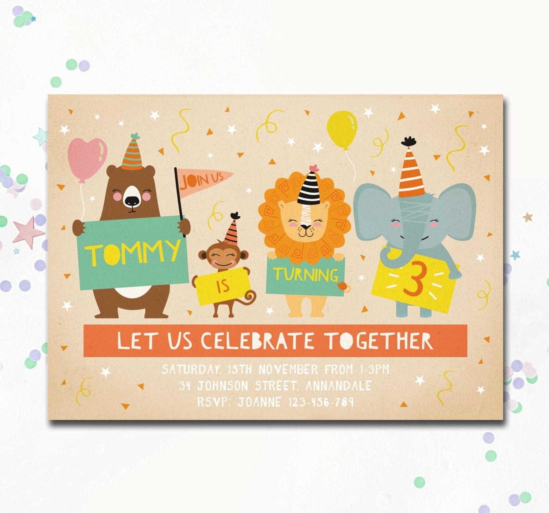 Printable Birthday Party Invitation Card Detroit Lions: Animal Birthday Invite Fun Theme Invite Circus Invitation