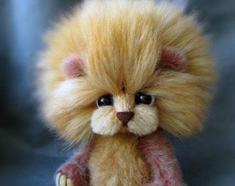 Toy lion animals handmade artist bear OOAK