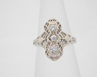 Vintage 0.25 Carat T.W. Round Cut Diamond Cluster Ring 14K White Gold