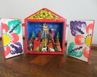 Vintage Folk Art Peruvian Nativity Creche