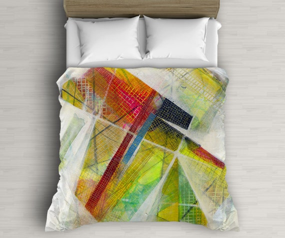 Red And Yellow Duvet Cover, Abstract Art, Boho Bedding, Mixed Media Art, Printed Duvet Cover, Dorm Decor