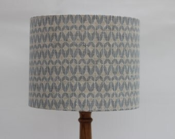 Handmade light blue/grey contemporary geometric print on natural 100% linen drum lampshade