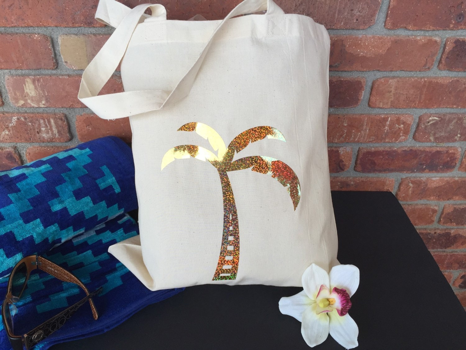 Palm Tree tote bag, gold palm tree tote, Mexico wedding welcome bag, beach wedding tote, gold tote, custom totes