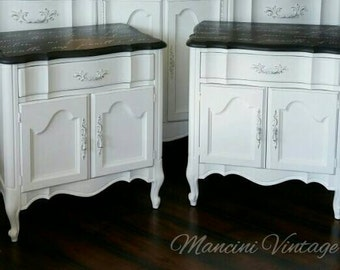 UNAVAILABLE! French Provincial White Fine Furniture Collection Glam Hollywood Nightstand Pair Cabinet Drawer Romantic Southern California