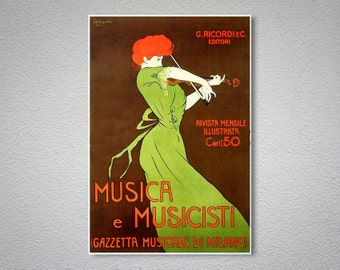 Musica e Musicisti Vintage Poster by Leonette Cappiello - Poster Paper, Sticker or Canvas Print