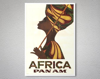 Africa PAN AM  Airline Travel Poster - Art Print - Poster Print, Sticker or Canvas Print