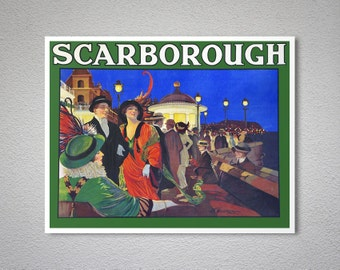Scarborough New Zealand  Vintage Travel Poster, Canvas Giclee Print