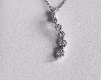 """14k white gold diamond journey pendant with 18"""" chain;  .10 carat TW; gift for her; any occasion"""