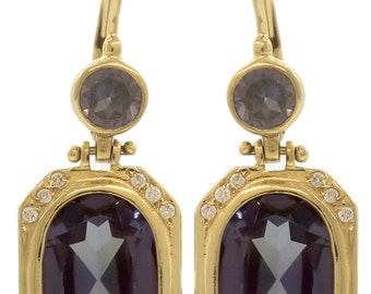 Ladies 14K 585 Yellow Gold Alexandraite Diamond Drop Dangle Leverback Earrings