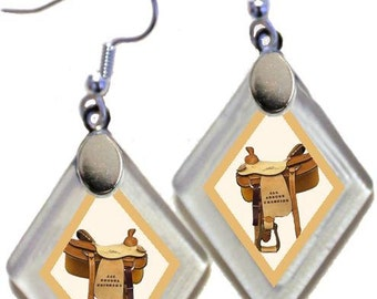 "Earrings ""Western Saddle"" from rescued, repurposed window glass~Lightening landfills one tiny glass diamond at a time!"