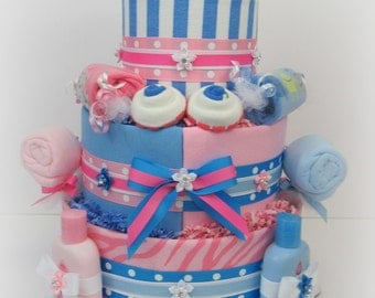 Twin Diaper Cake, Twin Baby Shower, Boy and Girl Twin Baby Gift, Twin Baby Gift, Twin Baby Shower Centerpiece, Unique Twin Gift