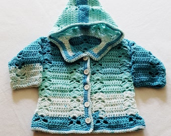 12 Month Hooded Sweater, Baby Sweater, Crochet Sweater, Baby Cardigan, Boy Sweater, Girl Sweater, Baby Shower Gift, Baby Hooded Sweater,