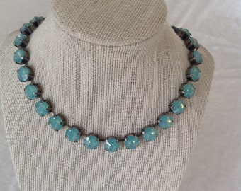 Crystal necklace, Swarovski crystal, green necklace- pacific opal - bridesmaids jewelry- antique- 10mm bracelet available