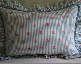 Blue Ivory Red Pink Green Ruffled Pillow Shams