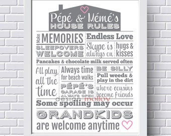 Grandma's House Rules - Family Rules Art - Gift from Grandchild - Grandparents Gift - Grandparents Sign - House Rules Sign - Mother's Day
